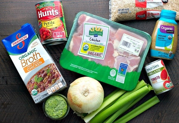 Ingredients for Healthy Slow Cooker Chicken Pesto Rice Soup