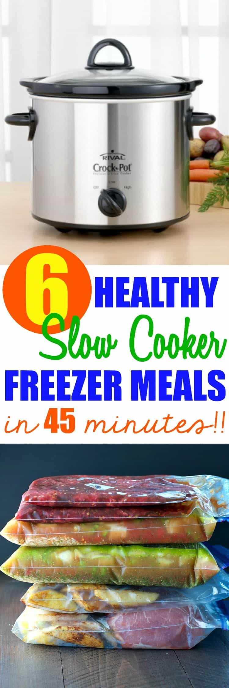 6 Healthy Slow Cooker Freezer Meals in 45 Minutes!