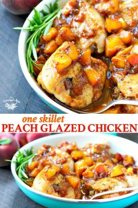 Long collage of One Skillet Peach Glazed Chicken