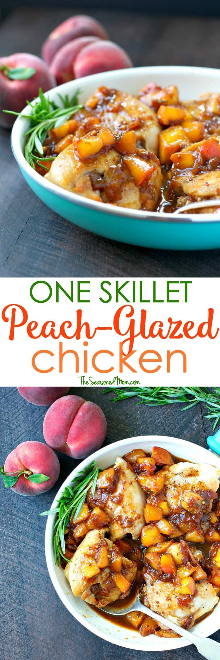 A healthy dinner is ready with only 5 minutes of preparation! This One Skillet Peach Glazed Chicken is a fast, fresh, and family-friendly meal to take advantage of summer's produce!