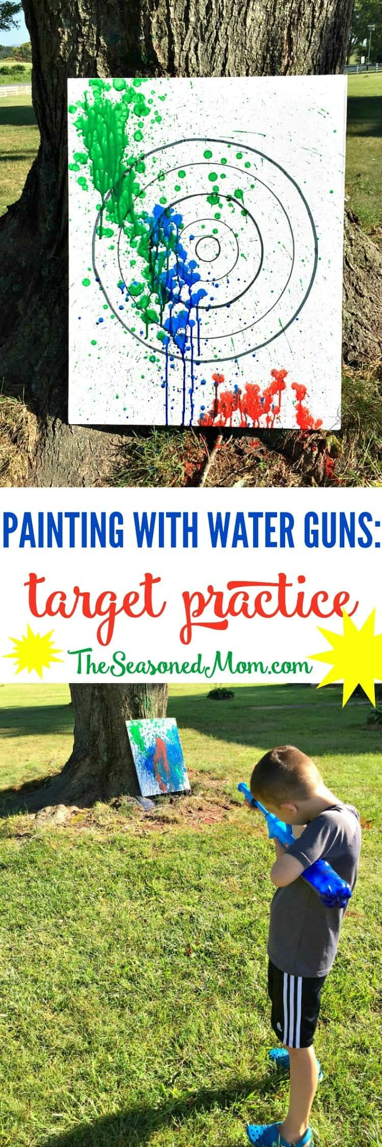 Have a BLAST with this fun outdoor activity for kids! My boys loved Painting with Water Guns while aiming at a target. It's truly the perfect summertime entertainment!