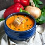 Red Pepper Soup with Grilled Cheese Croutons