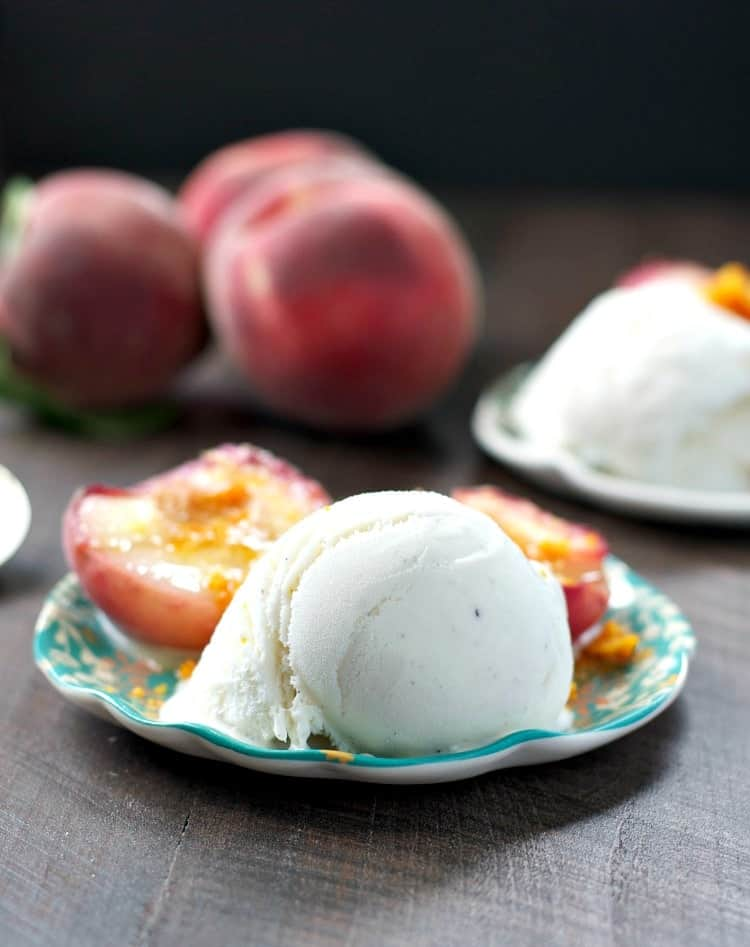 Indulge in summer's fresh bounty with a simple and easy dessert: Roasted White Peaches with Honeycomb and Vanilla Ice Cream!