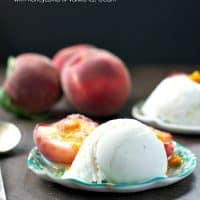 Roasted White Peaches with Honeycomb and Vanilla Ice Cream TEXT