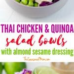 A collage image of a thai chicken and quinoa salad