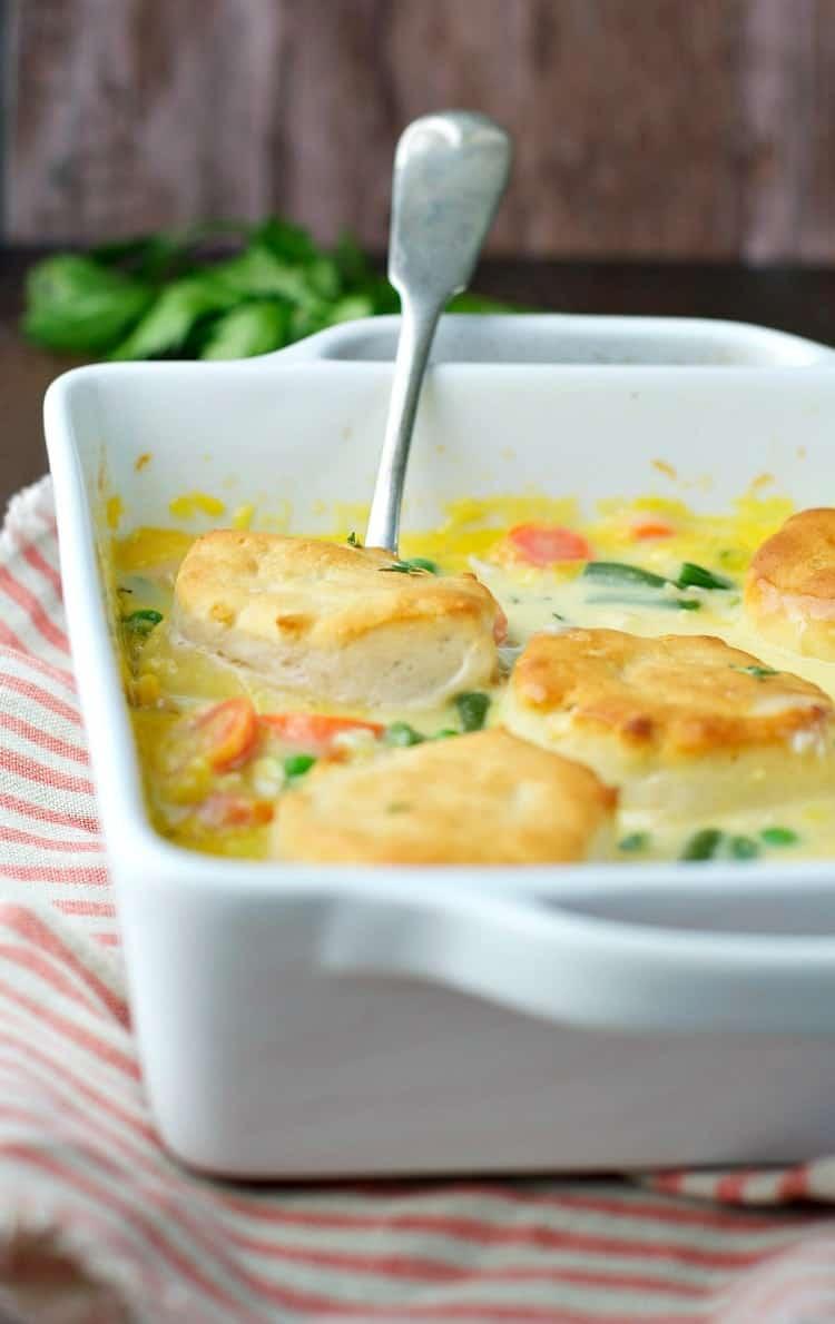 Chicken pot pie in a casserole dish