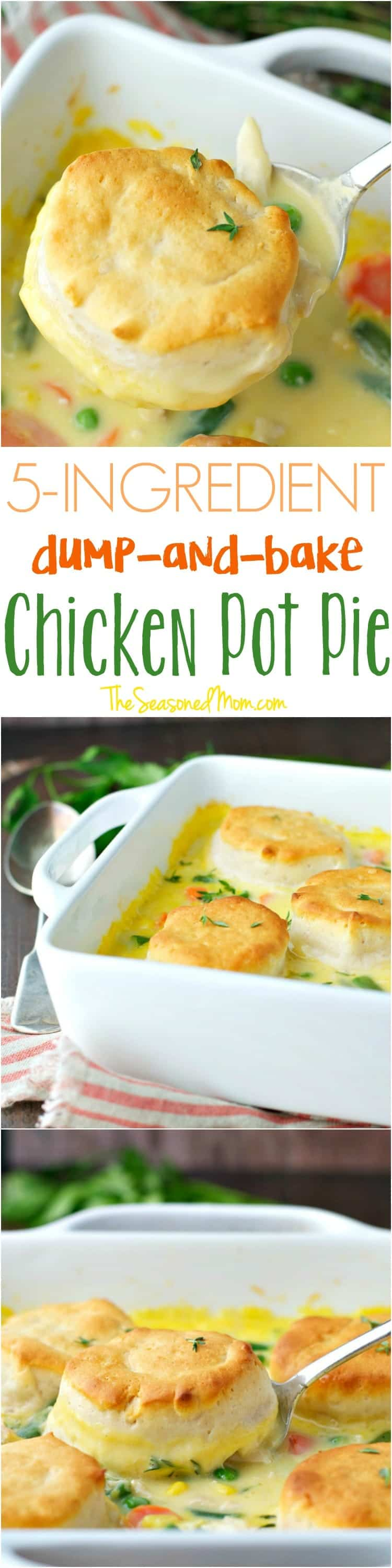 You only need 5 ingredients and 5 minutes to make this Dump-and-Bake Chicken Pot Pie Recipe!