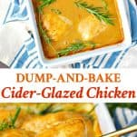Long collage image of Dump and Bake Cider Glazed Chicken