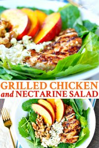 Long collage of Grilled Chicken with Nectarine Salad