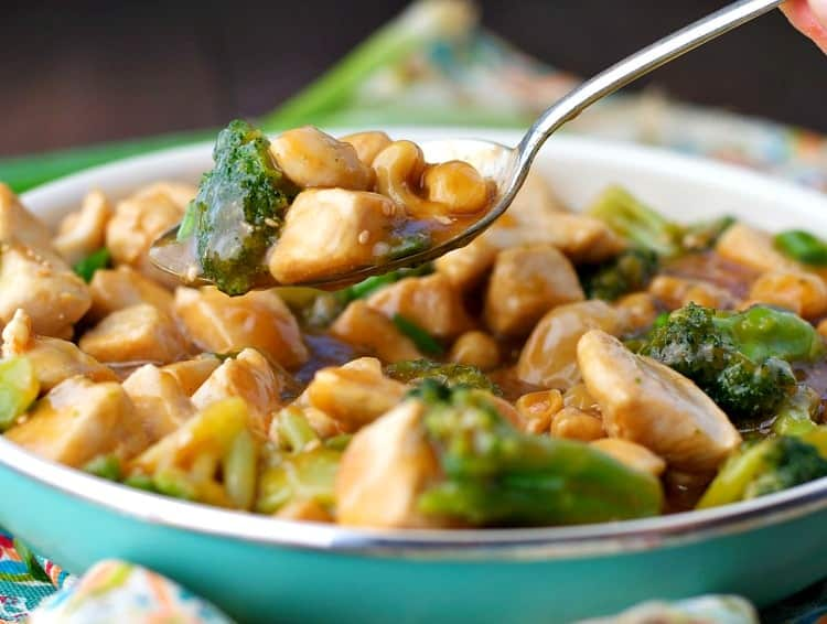 A close up of cashew chicken in a bowl