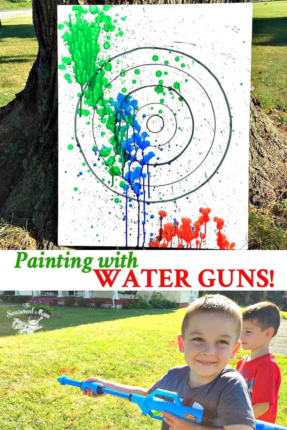 Long collage of painting with water guns summer activity for kids