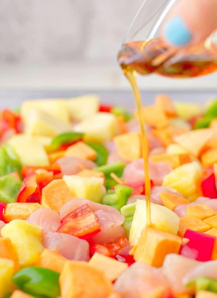 Hawaiian Chicken Sheet Pan Supper is a healthy dinner recipe idea!