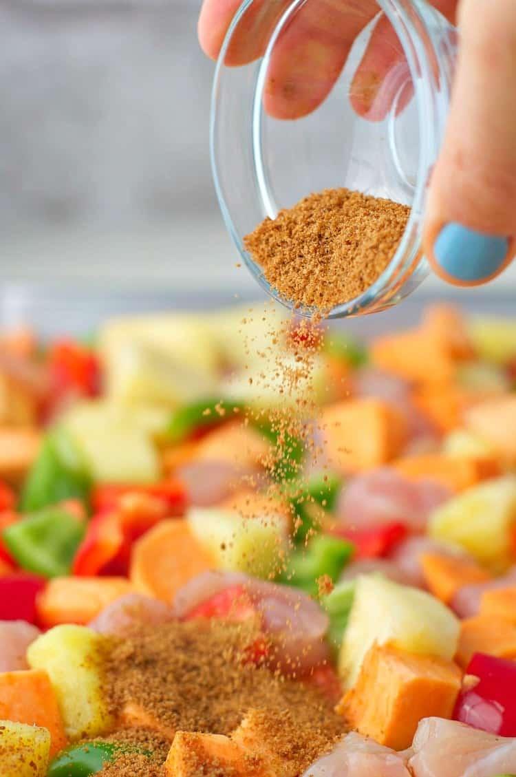 Easy dinners like Hawaiian Chicken Sheet Pan Supper make mealtime fast!