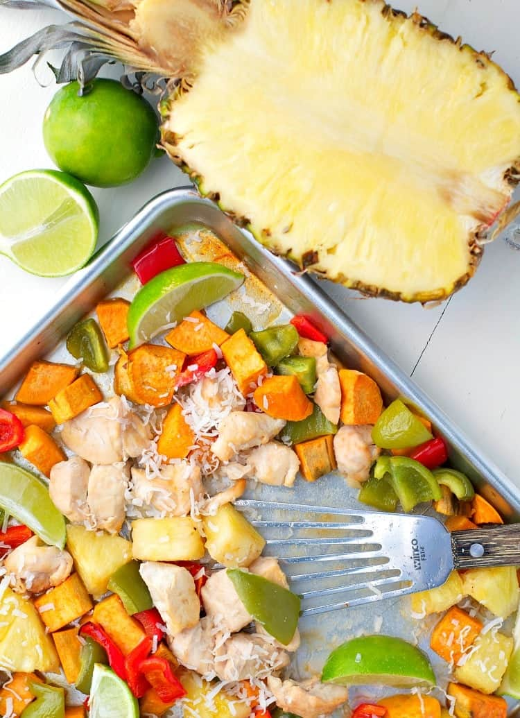 Sweet potatoes, bell peppers and chicken come together in this delicious sheet pan supper called Hawaiian Chicken