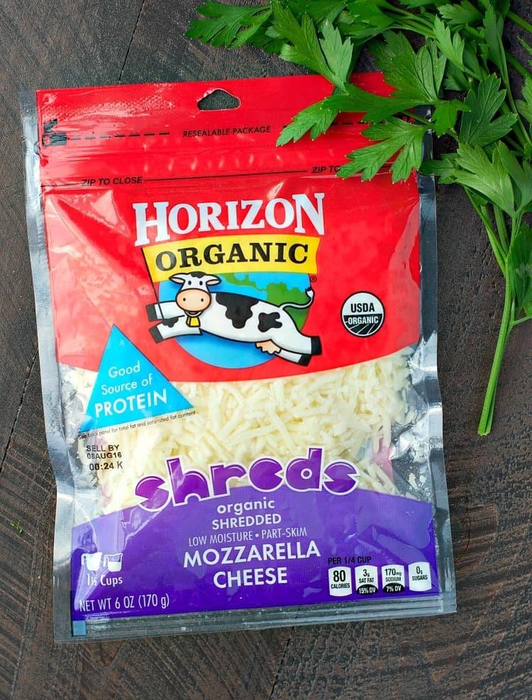 An overhead shot of a Horizon organic packet of shredded mozzarella