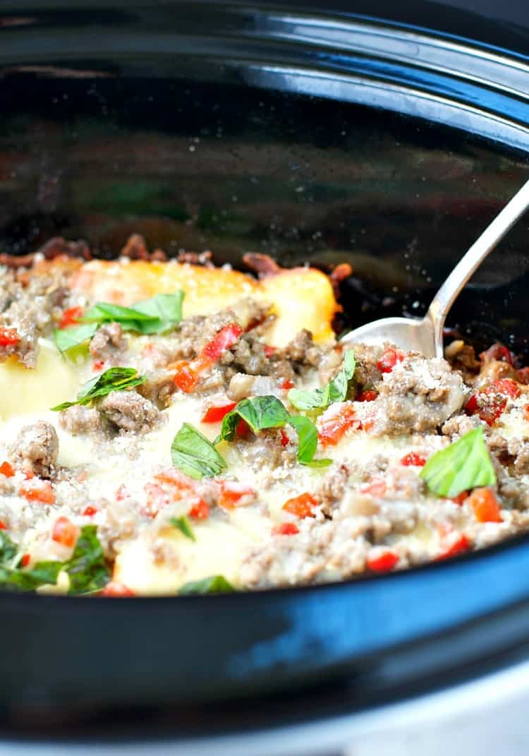 A close up of ravioli casserole in the slow cooker