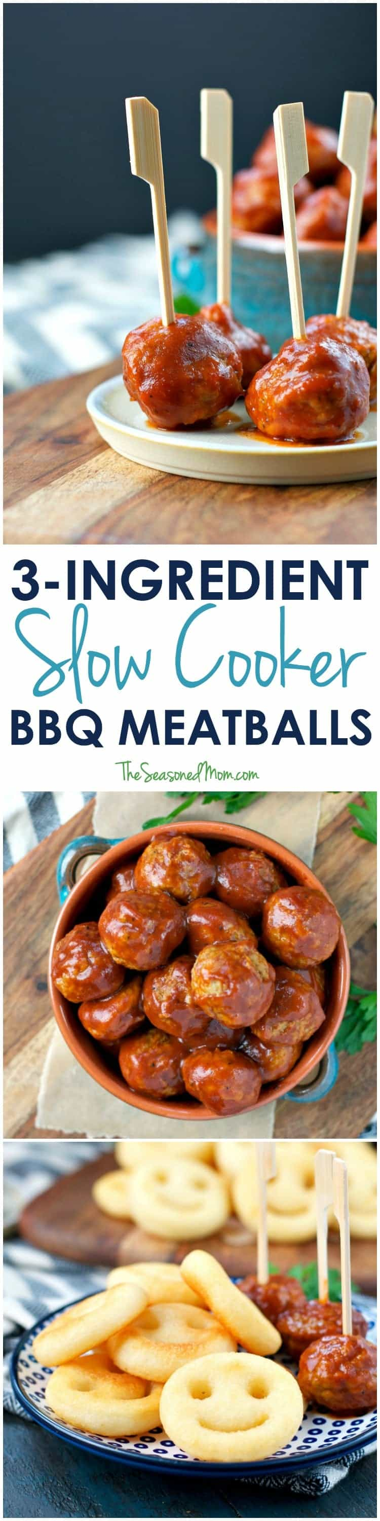 These 3-Ingredient Slow Cooker Meatballs are the perfect easy appetizer, party snack, or weeknight dinner for busy families!