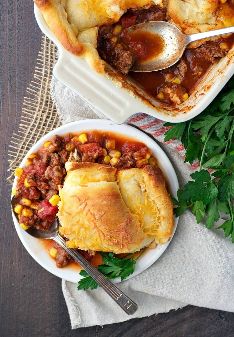 This cozy Chili Crescent Roll Bake is an easy dinner that's ready in 30 minutes!