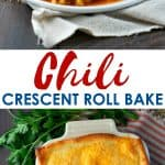 A collage image of a chili crescent roll bake