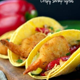 A close up of crispy shrimp fajitas