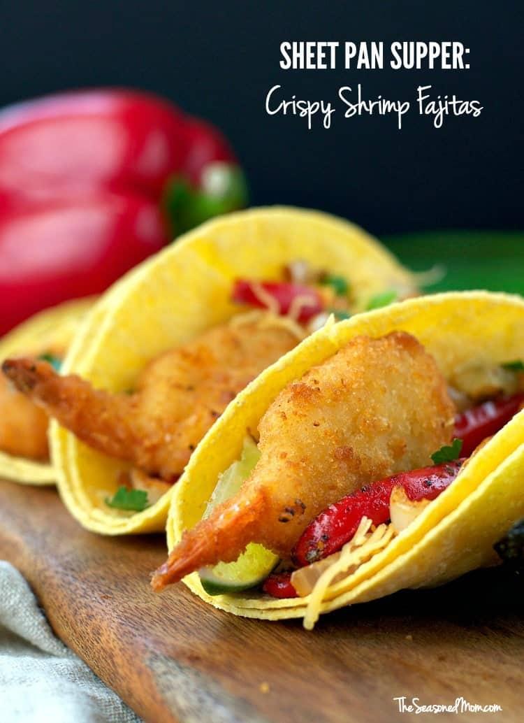 A close up of crispy shrimp fajitas