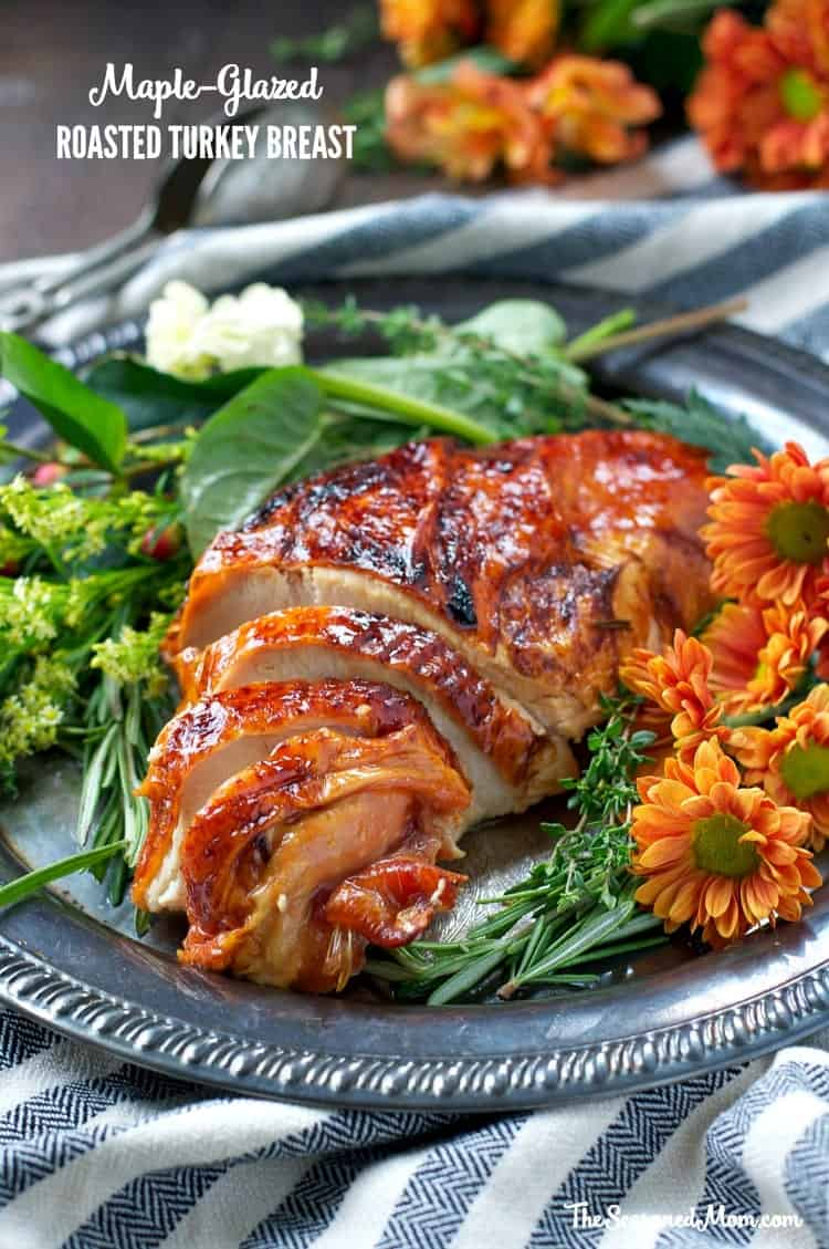 With just 15 minutes of prep, this golden, juicy, and Easy Maple-Glazed Roasted Turkey Breast is the perfect addition to your Thanksgiving or Christmas holiday dinner!