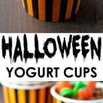 A collage image of halloween yogurt cups
