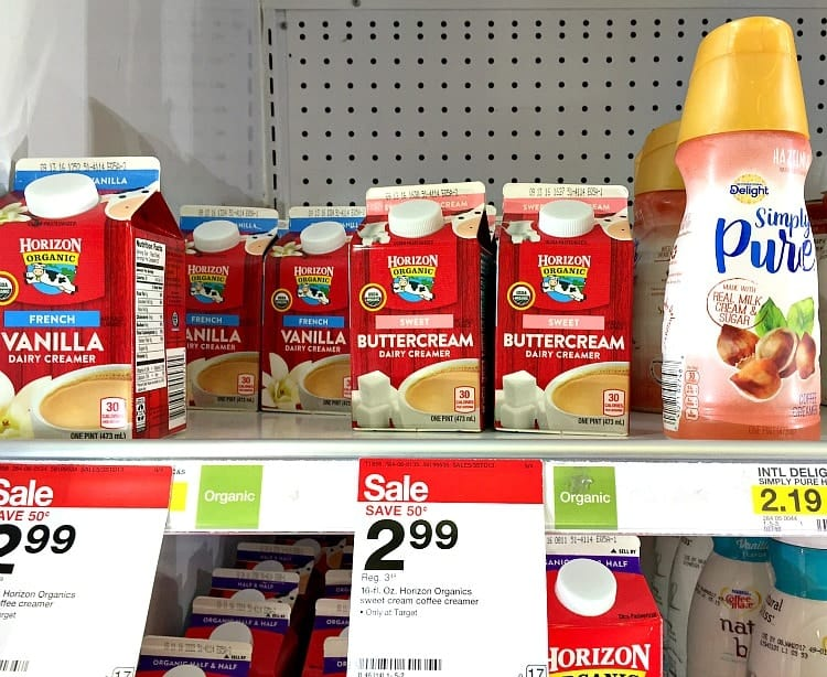 A photo of supermarket shelves with buttercream cartons used for making pumpkin spice granola