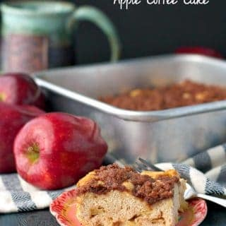 A slice of easy apple coffee cake on a plate