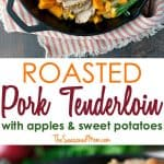 A collage image of pork tenderloin with baked apples