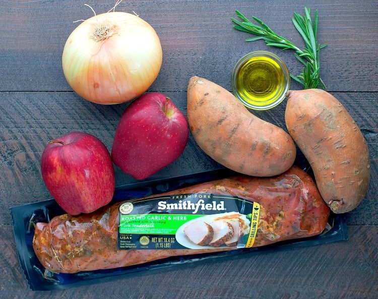 Ingredients on a work surface for pork tenderloin and apples