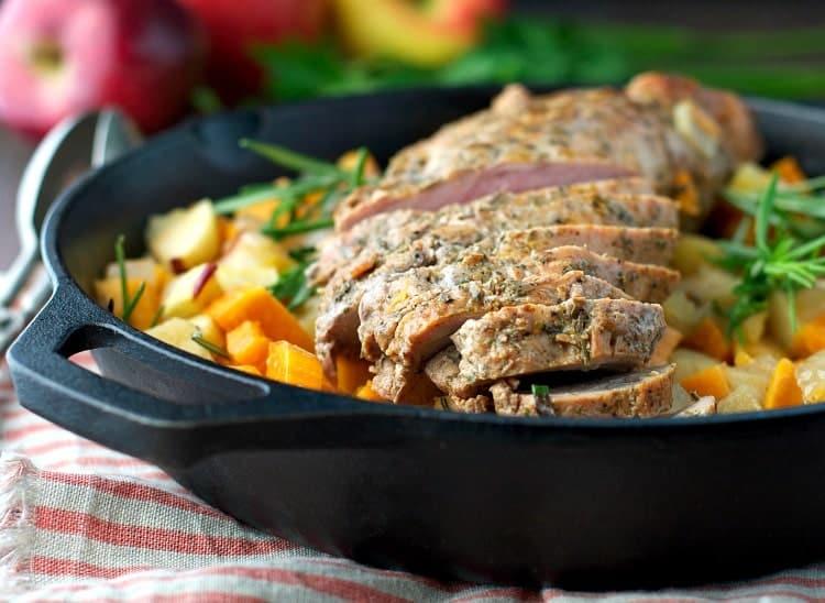 Roasted Pork Tenderloin with Apples - The Seasoned Mom