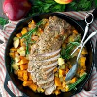 Roasted Pork Tenderloin with Apples and Sweet Potatoes TEXT
