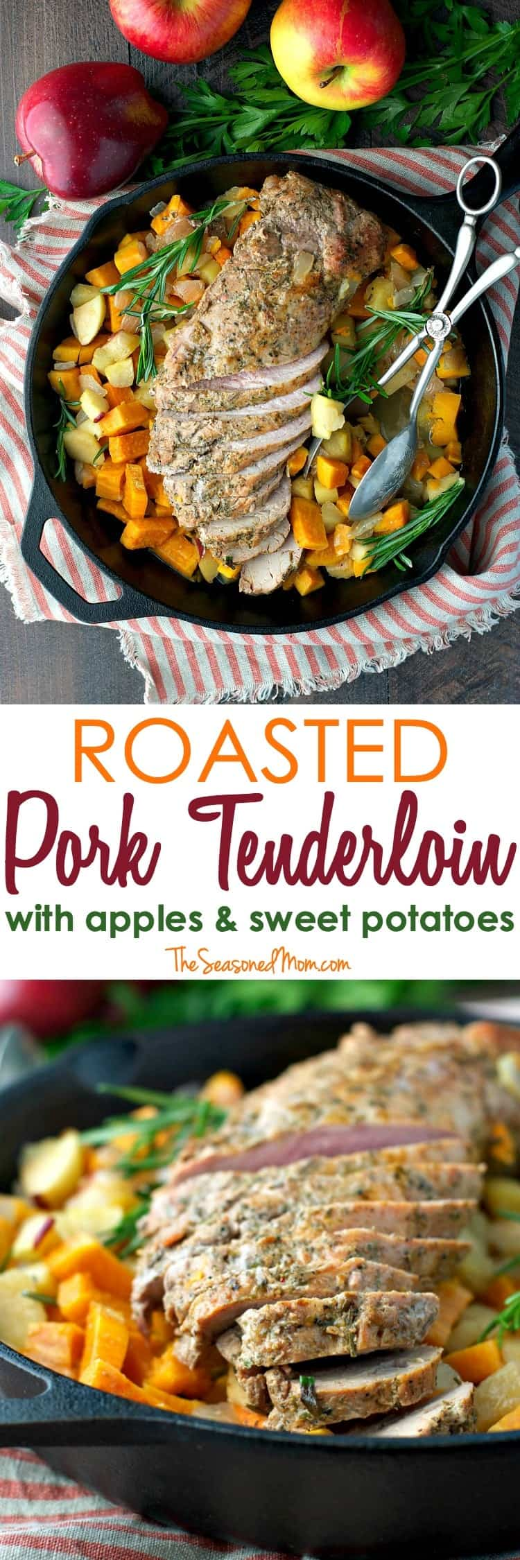 Serve this Roasted Pork Tenderloin with Apples and Sweet Potatoes for an easy 30-minute dinner on your busiest weeknights!