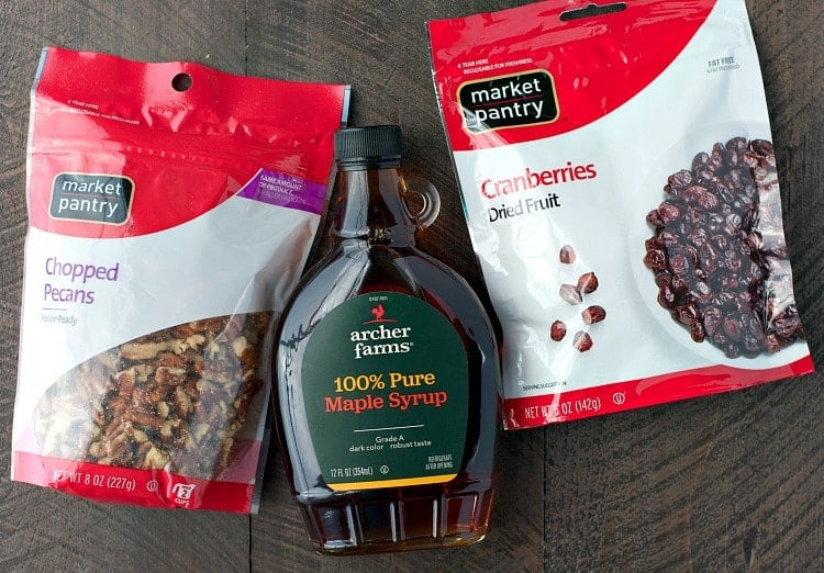 An overhead shot of ingredients used to make pumpkin spice granola