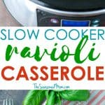 A collage image of slow cooker ravioli