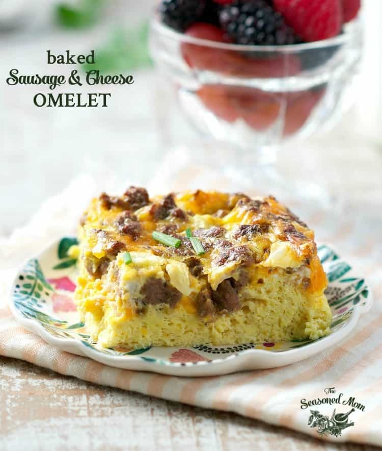 This Baked Sausage and Cheese Omelet is an easy breakfast casserole that only requires 5 minutes of prep!