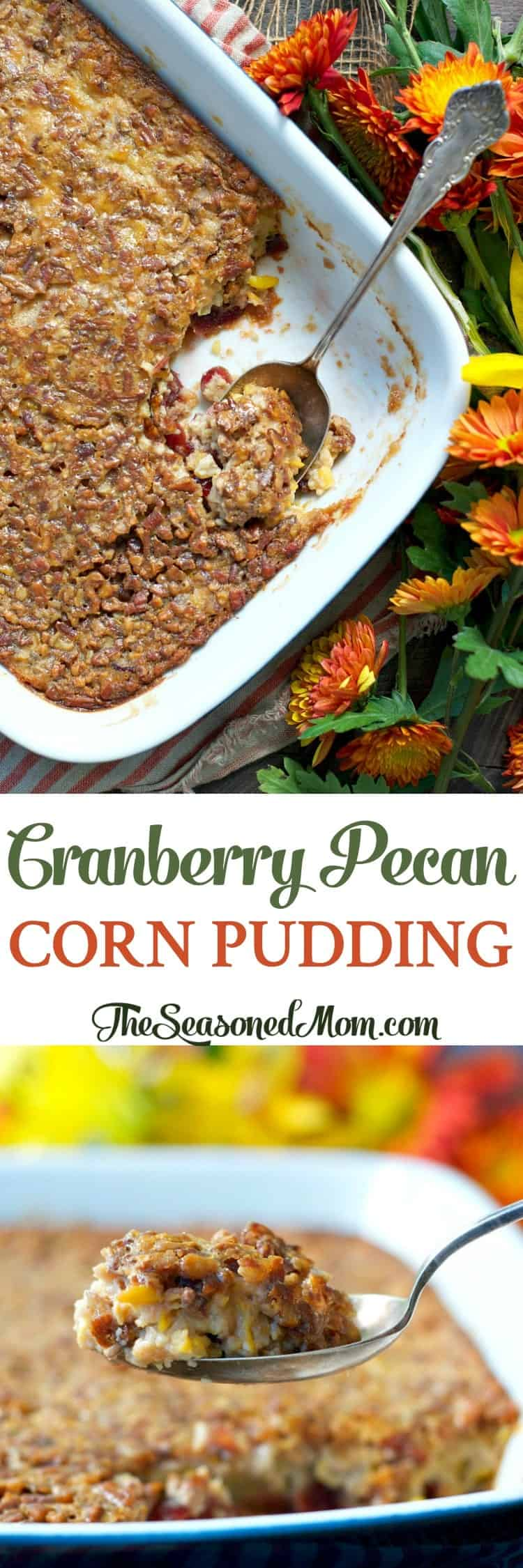 Sweetened with a touch of maple, this Cranberry Pecan Corn Pudding is an easy 10-minute side dish that's perfect for Thanksgiving, Christmas, or any weeknight dinner!