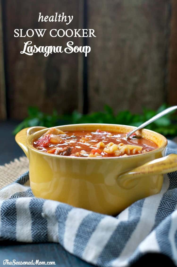 A slow cooker lasagna soup in a yellow bowl