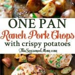 A collage image of one pan ranch pork chops