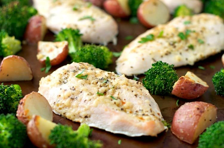 Sheet Pan SupperGarlic Parmesan Chicken and BroccoliThe