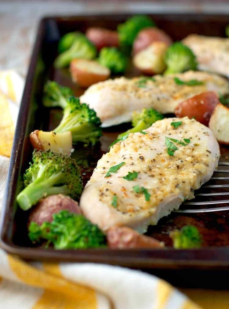 ... Garlic Parmesan Chicken and Broccoli with Crispy Potatoes! We love