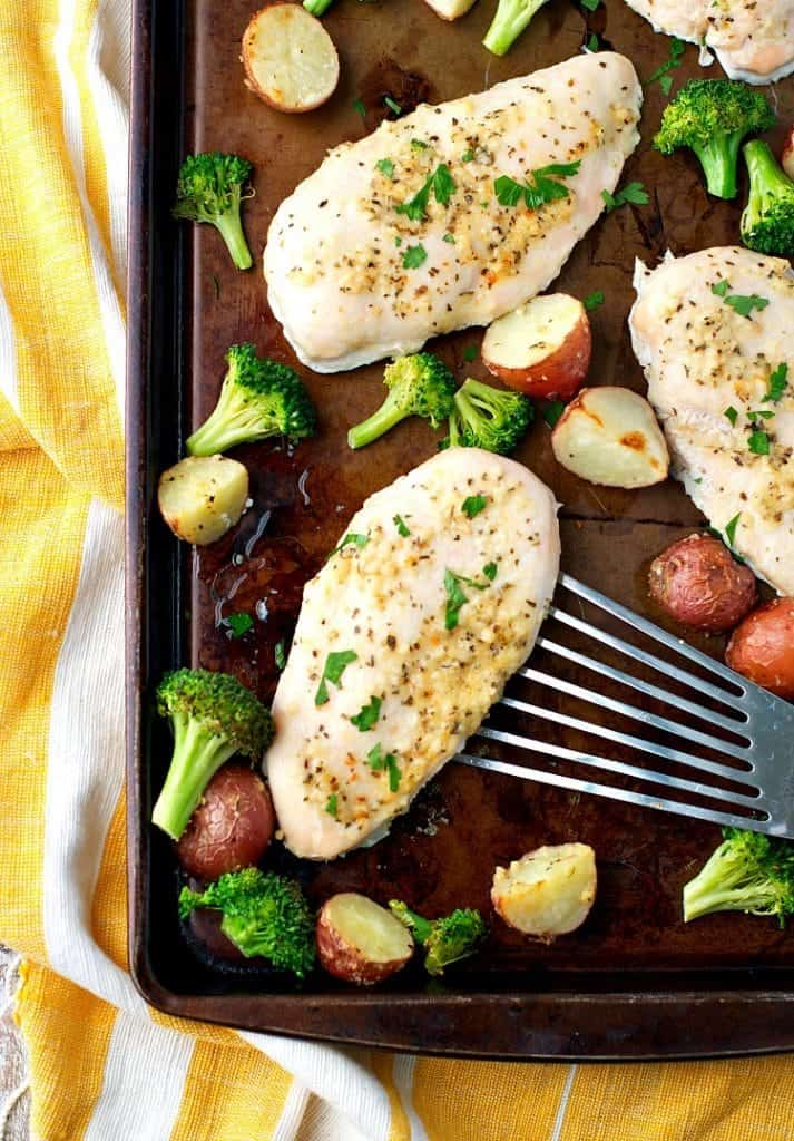 Sheet Pan Supper: Garlic Parmesan Chicken and Broccoli