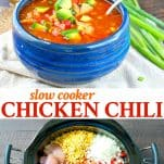 Long collage of Slow Cooker Chicken Chili