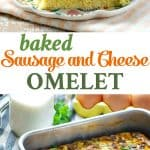 A collage image of a baked sausage and cheese omelet