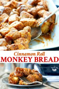 Long collage image of Cinnamon Roll Monkey Bread
