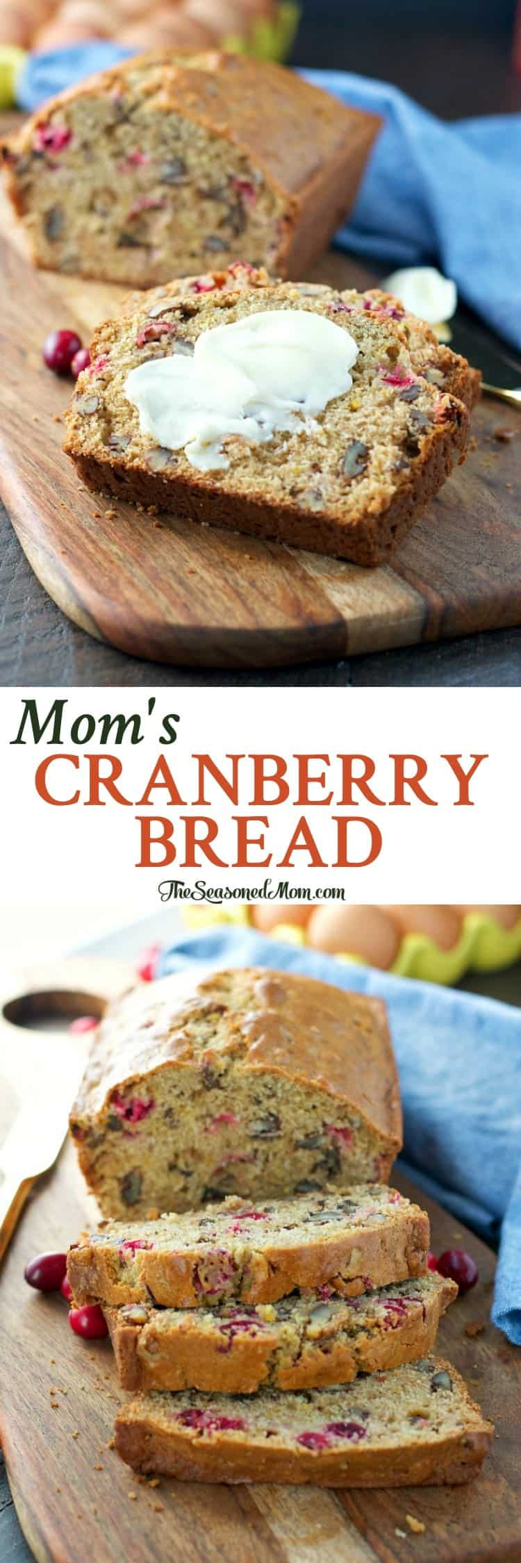 You only need about 15 minutes to prepare Mom's Cranberry Bread -- a delicious holiday breakfast or brunch option, or an easy Christmas food gift!
