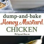 A collage image of honey mustard chicken