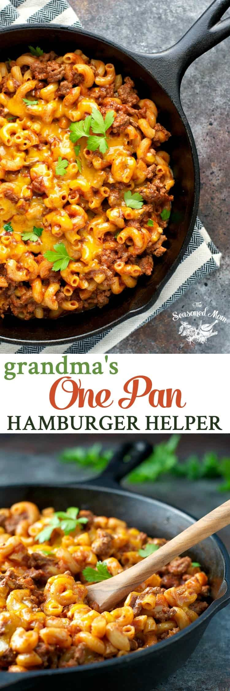 Just 5 minutes of prep for a healthy and easy dinner that cooks entirely in one pan: Grandma's Hamburger Helper!