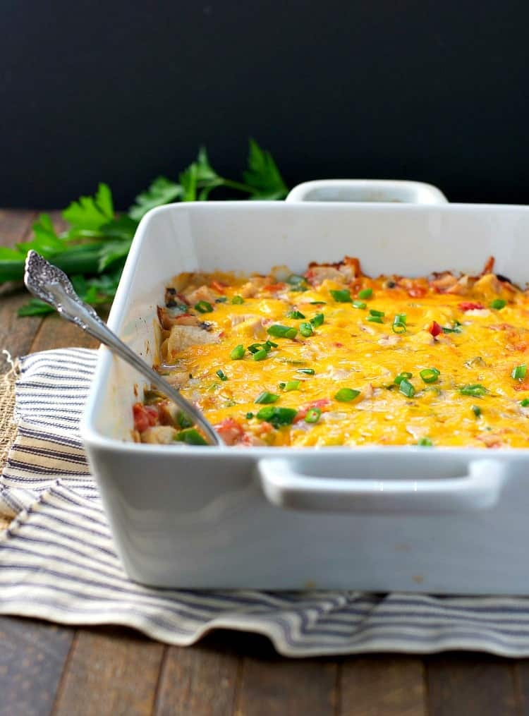 A ranch chicken casserole in a white baking dish